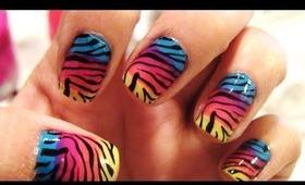 Zebra Print nails with a colorful twist - Lisa Frank Nails