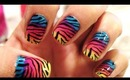 Zebra Print nails with a colorful twist - Lisa Frank Nails