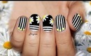 Monochrome and Neon Stripes and Daisies Nail Art