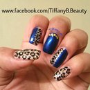 Electric blue and leopard nail art