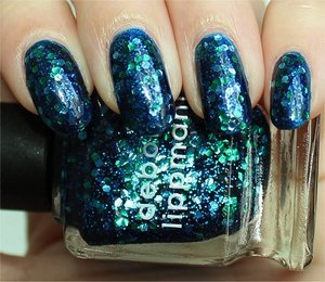 Deborah Lippmann Across the Universe layered over OPI Swimsuit...Nailed It! More photos here: http://www.swatchandlearn.com/deborah-lippmann-across-the-universe-swatches-review-layered-over-opi-swimsuit-nailed-it/