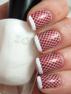 Holiday fishnet mani using konad plate M57 and China Glaze Ruby Pumps. More details can be found on my blog post: http://www.lacquermesilly.com/2012/12/23/naughty-mrs-claus/