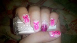 So...this is kinda late lol I realized I never put this up. But these are the breast-cancer awareness nails I rocked :) DISCLAIMER: lol I KNOW they're not perfect, and that they are very messy.