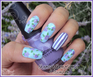 Base: Avon .:. Vintage Blue (Ring): Sinful Colors .:. Verbena   Flowers: Sinful Colors .:. Verbena, Sinful Colors .:. Nail Art-Bad Chick, Diamond Cosmetics .:. Nail Art-Purple Shimmer, Nubar .:. Green Tea   Stripes: Sinful Colors .:. Nail Art-Bad Chick