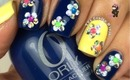 Glitter Placement Flower Nails by The Crafty Ninja