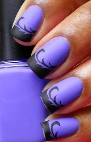 Purple & Black Matte Nail Art