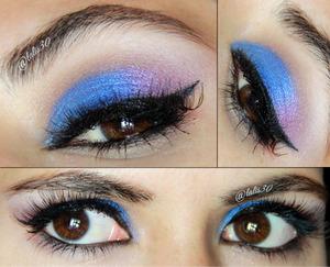 Blue and purple eye makeup.