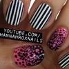 Abstract Print and Stripes Nails