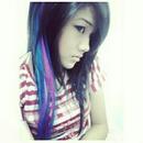 Blue pink hair streaks