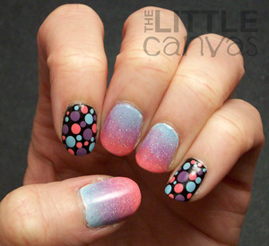 Dots with a beautiful gradient.  Dots were created using dotting tools from the Born Pretty Store (www.bornprettystore.com).  Best dotting tools ever!!! http://thelittlecanvas.blogspot.com/2013/01/a-young-wild-and-polished-manicure.html