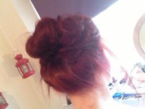red hair messy bun