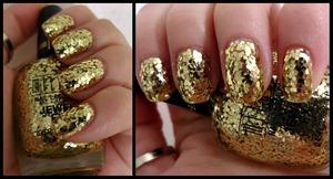 Milani FX Gold glitter layered a few times to achieve the all over coverage. Had to use a toothpick to adjust where each piece of glitter finally laid down.