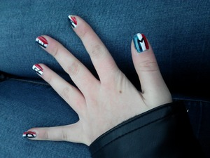 Just a nail look I did to go see Les Mis. The word is DREAM over the French flag.