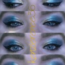 Blue and Gold Arabian inspired look, winged liner...