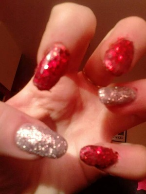 red and silver glitter