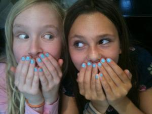 this is me and my best friend ajda. we recently did our nails like this and i loved the color!