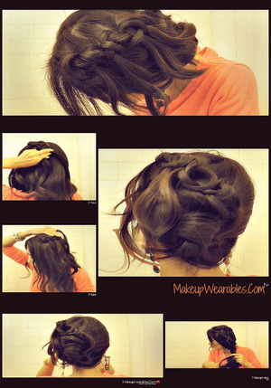 In this easy & quick winter 2012 hair tutorial video, learn how to do 2  knotted cascade waterfall braid hairstyles,  Half-up, half-down loose waves & side bun/chignon, waterfall braid updo with curls  - on yourself - for medium hair and for long hair http://www.makeupwearables.com/2012/12/how-to-knotted-waterfall-braid-hair.html