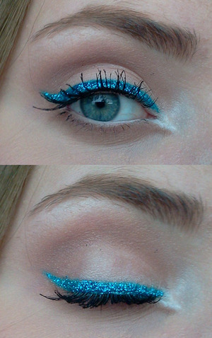 Wore this to work!  Products:  Urban Decay Primer Potion  Urban Decay Naked Palette (Virgin, Naked and Buck)  Maybelline Color tattoo (Turqoise Forever)  NYX Candy Glitter liner (Blue)  MaxFactorX Excess Volume Extreme Impact Mascara