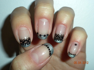 Gunmetal metallic French tips with Freehand black lace detailing
