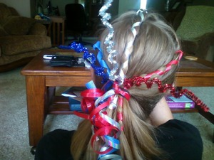 you need long hair ribbons(red,blue,silver or white) and a pony tail and glitter pipe cleaners (red,blue and silver)