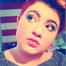 Blue and orange makeup