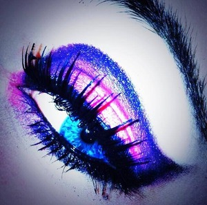 one of my favorite looks thus far; a purple & pink dramatic winged eye with some intense falsies.