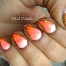 Orange Ombre and Gold Manicure
