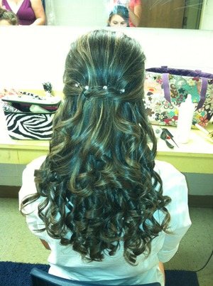 Tease the top, curl, and pin the side back!!