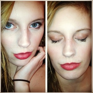 Red lip with simple brown eye shadow