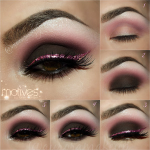 instagram @auroramakeup FB: https://www.facebook.com/AuroraAmorPorElMaquillaje  Hi dolls  Here is the PICTORIAL of prevoius makeup post with Motives by Loren Ridinger products , please enjoy it . LOVE U!!! Hola bellas Aqui esta el PICTORIAL de la foto anterior con productos Motives Cosmetics que pueden encontrar en las paginas de la marca: http://www.motivescosmetics.com/ (USA & CANADA) http://www.globalshop.com/ ( internacional)  STEP1 // PASO1 Apply Eye Shadow Base on eyelids. Highlight brow bone with Paint Pot Mineral eye shadow in MARSHMALLOW . Mark the socket line with Pressed Eye Shadow in VINO and blend it out with LaLa Mineral Blush in CENTERFOLD through crease. Aplica la prebase de sombras de motives, ilumina el hueso de la ceja con el pigmento mineral blanco en tono MARSHMALLOW . Marca el globo ocular con la sombra VINO mate y difumina esta linea con el rubor mineral CENTERFOLD .  STEP2 //PASO2 Apply Khol Eyeliner in COFFEE on mobile eyelid blending edges on socket line, set eyeliner with Pressed Eye Shadow in ONIX and then apply above Pressed Eye shadow in CHOCOLIGHT to get a softer brown finish, curl your lashes and apply mascara. Aplica el lapiz delineador cafe oscuro COFFE en el parpado movil difuminando los bordes , sellalo con sombra negra mate ONIX y cubre encima con sombra cafe oscuro mate CHOCOLIGHT para obtener un color chocolate oscuro. Riza las pestanas y pontles mascara.  STEP3//PASO3 Mix Glitter Pot in JEWEL PINK with Glitter Adhesive ( I do it on back of my hand) and line top lashes drawing a wing at the end , you will see how easy it is . Apply top false lashes , I used SHOW STOPPER by @doseofcolors  Mezcla los brillos rosas JEWEL PINK con el Pegamento de Glitter de motives que es transparente ( yo lo hago atras de mi mano) y delinea las pestanas superiores . Aplica pestanas postizas, yo use las SHOW STOPPER de http://www.doseofcolors.com/   STEP4//PASO4 Line top & lower waterline with Khol Eyeliner in ONIX, blend it out below lower lashes with Pressed eye shadow in ONIX and CHOCOLIGHT. Delinea la linea del agua superior e inferior con el lapiz delineador negro ONIX , difumina las orillas de pestanas inferiores con el mismo lapiz y sellalo con sombras ONIX y CHOCOLIGHT.  STEP5//PASO5 Highlight inner corner with some sparkles of Glitter Pot in CELEBRATE using some little drops of Glitter Adhesive ( in brow bone too) . Add Lala mineral Volumizing and Lengthening mascara in BLACK on top and lower lashes. Ilumina el lagrimar con algunos destellos de los brillos CELEBRATE en color plata usando el mismo pegamento de glitter en pequenas gotas ( en le hueso de la ceja tambien ) . Agrega mascara de pestanas arriba y abajo   Lips have Mineral Lipstick in WISTERIA and Paint Pot Mineral Eye Shadow in MARSMALLOW in higher parts of the lips  Labios tienen el Lapiz labial mineral WISTERIA y el pigmento mineral blanco MARSHMALLOW en las partes altas de los labios