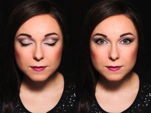 Face Super lifting cream by faris (NARIS) Corrector palette FG20(VIZART) Invisible Fixing Powder, natural (DERMACOL) Cool Bronzer (e.l.f.) Blush, Sea Shell (MAKE UP STORE)  Eyes Eyebrow kit, medium (e.l.f.) Eyeshadow base, light beige (AVON) True Colour Eyeshadow duo, Retro Glamour (AVON)  butt naked eyes palette (NYX) Fluidline, Blactrack (M.A.C.) Soft Eye Kohl, Blanc (ZOEVA) Mascara Mega Effects (AVON)  Lips Ultra glimmerstick lip liner, Mystery Mauve (AVON) Ultra Color listick, Dream Fuchsia (AVON)
