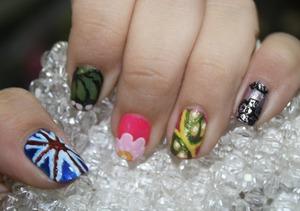 union jack, monarch, flower, lime & black flower