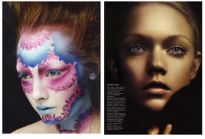 body art, blue lips, blue mascara, red hair, nude lip, neutral eye