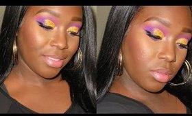 Yellow Glitter Cut Crease Makeup Tutorial