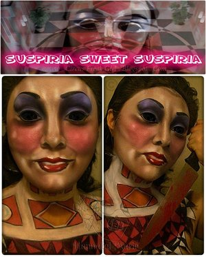 "An entry I did for a makeup contest. The theme was ""Horror or Sci-fi movies before 1980s. I did two makeup looks, and this is my first one. I called it ""Suspiria Sweet Suspiria"" because I chose ""Suspiria and Alice sweet Alice"".  I wanted to recreate ASA's mask, and I did so. even complete with sting to pretend it's an actual mask on my face! I based the chest piece on Suspiria alone. Lots of fun stuff going on in that movie, in general, but I wanted to focus on the actual house. The walls and the floor, to be more specific. I remembered that movie strictly on the floors and walls alone. haha. Soooo...I created a design inspired by those two things.  I made a quick slide-show movie on youtube, if you're interested in seeing: https://www.youtube.com/watch?v=Xx_aDhMtQKc"