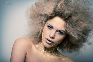 Gold Leaf make up with pin frizz hair
