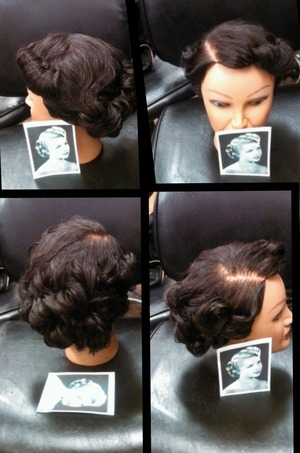using pin curls and rollers,