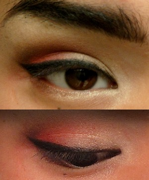 This is a simple and quick cat eye with a matte brown fading into a burnt red on the lid. NARS albatross as inner corner highlight and Naked 2 Foxy on the first half of the lid.