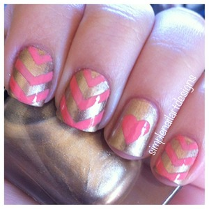 Chevron Heart Nails!