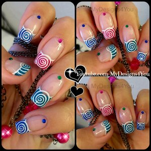 Spring Nail Art | Cute Multicoloured Spirals French https://www.youtube.com/watch?v=0MPoievLueU