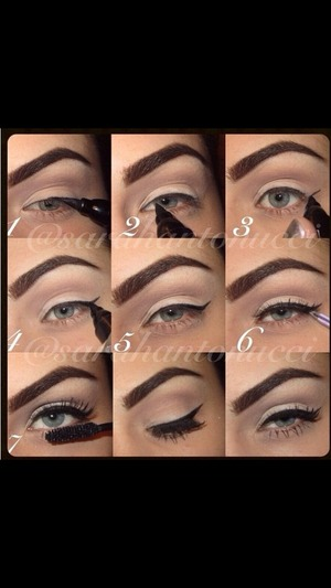Steps to perfect winged liner 😘 Instagram @sarahantonucci