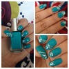 Green and silver tape nails