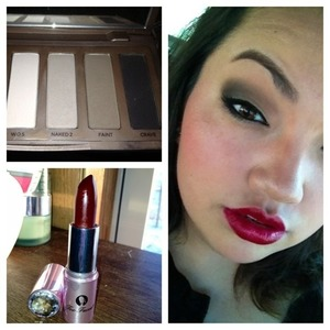 """I did an all matte eye using Naked Basics with my new Too Faced lipstick called """"Drop Dead Red"""""""