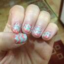 coral and mint chevron nail