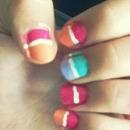 colourblock summer nails!