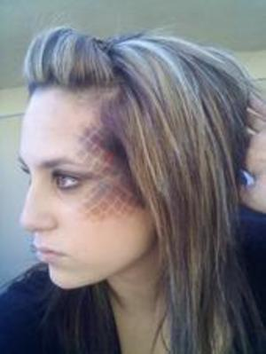 Halloween-2009 i believe. pretty funnny. it was just my school makeup not my actual halloween costume. Everyone said it looked like i got in a fight and got stomped on the face.  lol.   nice.
