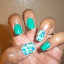Emerald Green & Peacock Manicure w/ Jamberry Nails