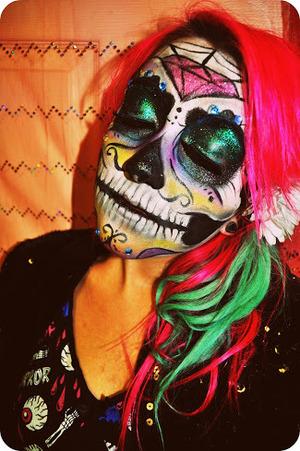 Glittery sugar skull face paint on myself!