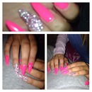 Stiletto Gel crystal & pearl bead nails