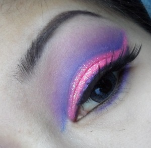 a sparkly pink and purple cut crease inspired by spring.